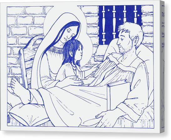 Canvas Print featuring the painting Our Lady And The Holy Child Jesus Visit St Ignatius The Convalescent In Loyola by William Hart McNichols