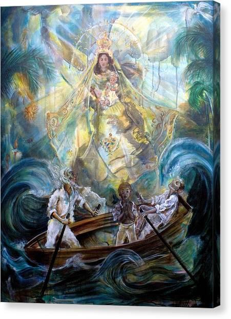 Fraternity Canvas Print - Our Lady Of Charity - Virgen De La Caridad Del Cobre by Iris Leyva Acosta