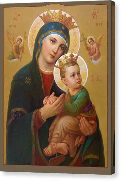 Orthodox Art Canvas Print - Our Lady Of Perpetual Help - Perpetuo Socorro by Svitozar Nenyuk