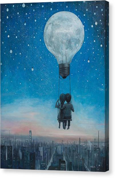 Hot Air Balloons Canvas Print - Our Love Will Light The Night by Adrian Borda