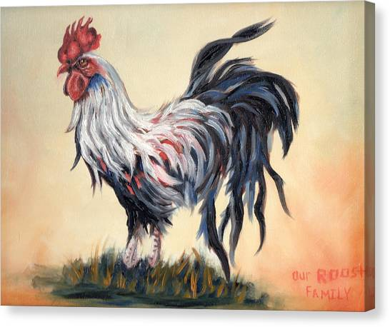Our Rooster Family Canvas Print