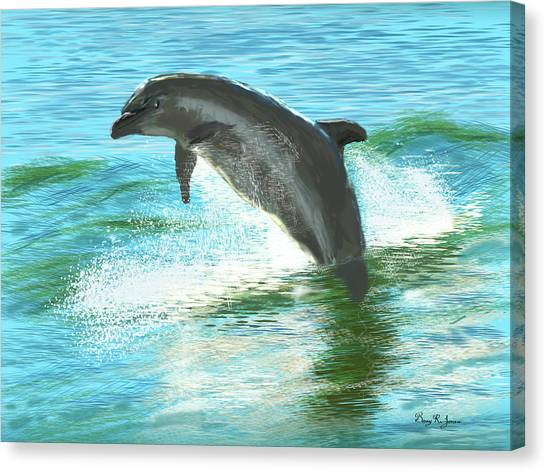 Canvas Print featuring the digital art Out For A Swim by Barry Jones