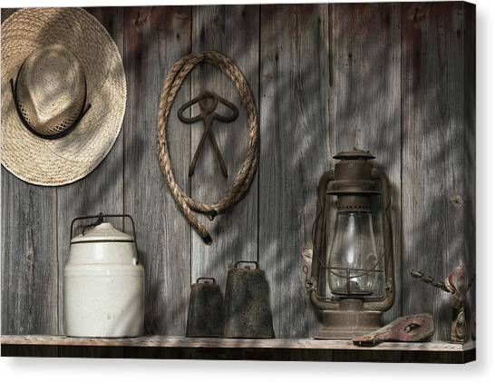 Rope Canvas Print - Out In The Barn IIi by Tom Mc Nemar
