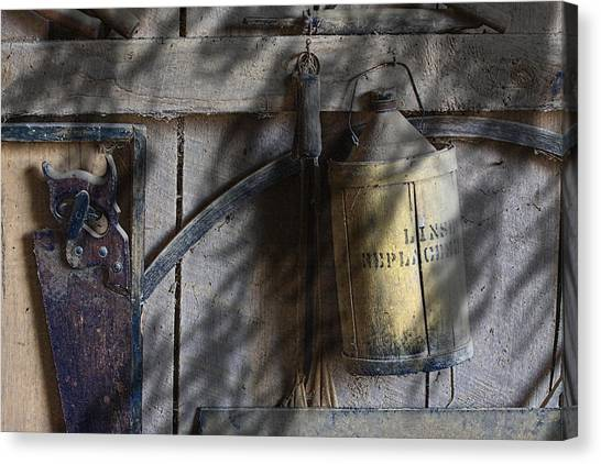 Saws Canvas Print - Out In The Barn by Tom Mc Nemar
