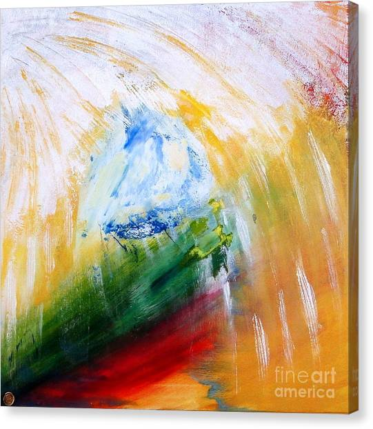 Canvas Print featuring the painting Out Of The Blue by Ron Labryzz