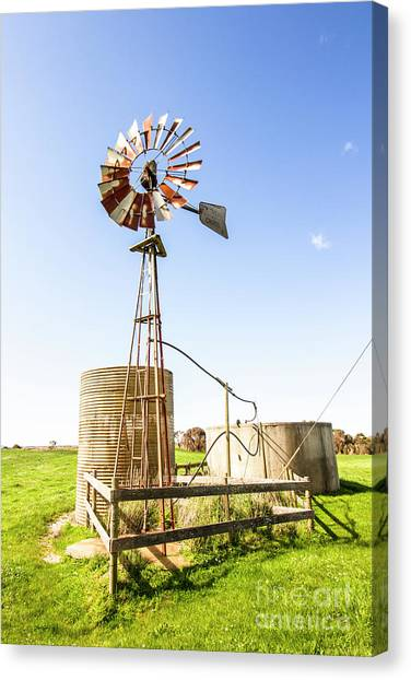 Wind Farms Canvas Print - Outback Australian Farm Mill by Jorgo Photography - Wall Art Gallery