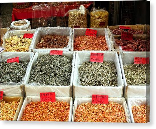 Outdoor Market For Dried Seafood Canvas Print