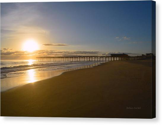Canvas Print featuring the photograph Outer Banks Pier Sunrise by Barbara Ann Bell
