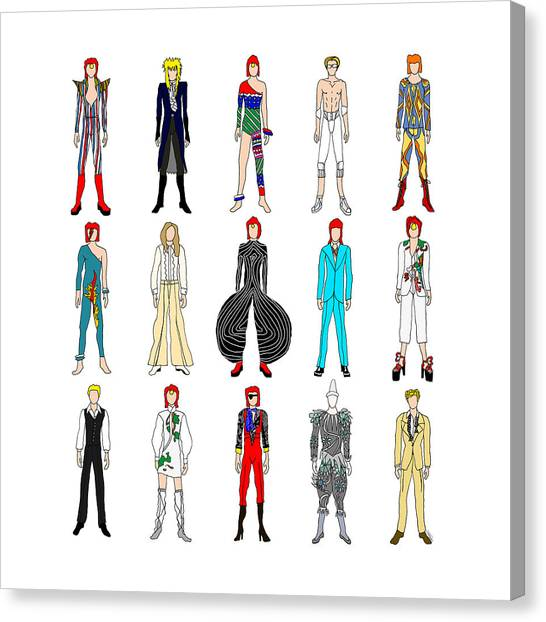 David Bowie Canvas Print - Outfits Of Bowie by Notsniw Art