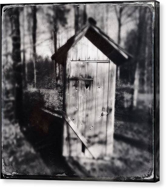 Woods Canvas Print - Outhouse Black And White Wetplate by Matthias Hauser