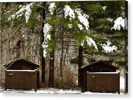 Outhouses In The Cold Canvas Print
