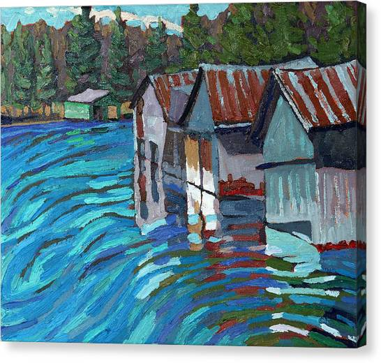 Outlet Row Of Boat Houses Canvas Print