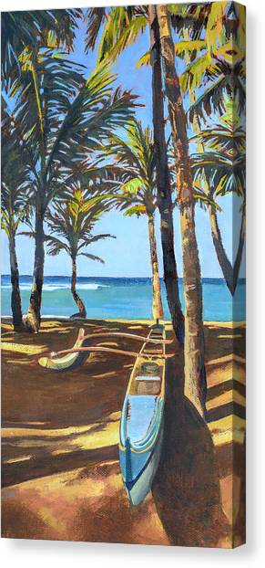 Mauna Loa Canvas Print - Outrigger Canoe At Mama's Fish House by Stacy Vosberg