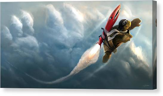 Flying Canvas Print - Outrunning The Clouds by Steve Goad
