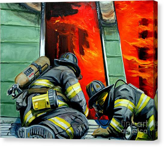 Firefighters Canvas Print - Outside Roof by Paul Walsh