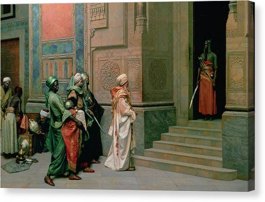 Muslim Canvas Print - Outside The Palace by Ludwig Deutsch