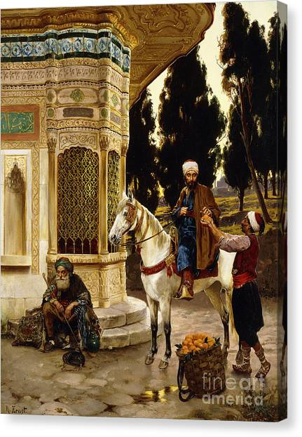 Fruit Baskets Canvas Print - Outside The Palace by Rudolphe Ernst