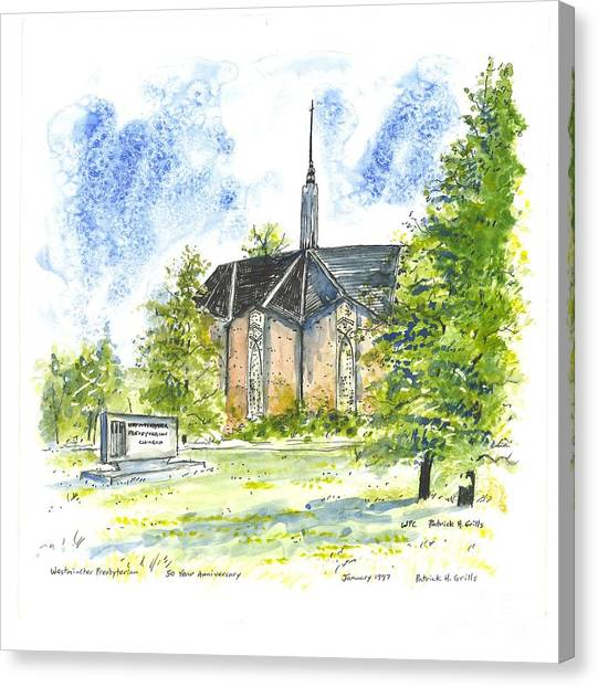 Outside The Sanctuary At Westminster Presbyterian Chuch Canvas Print