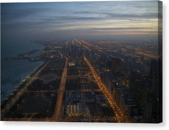Over Chicago At Dusk Canvas Print