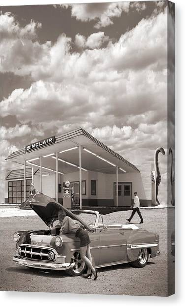 Street Rods Canvas Print - Over Heating At The Sinclair Station Sepia by Mike McGlothlen