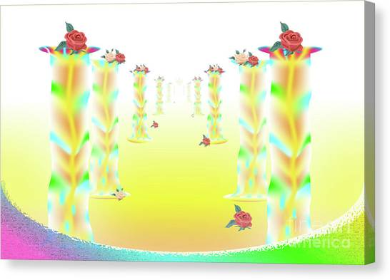 Canvas Print featuring the digital art Over The Rainbow by Ron Labryzz