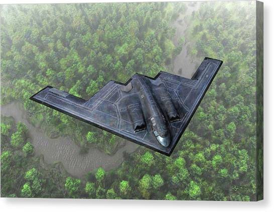 Over The River And Through The Woods In A Stealth Bomber Canvas Print