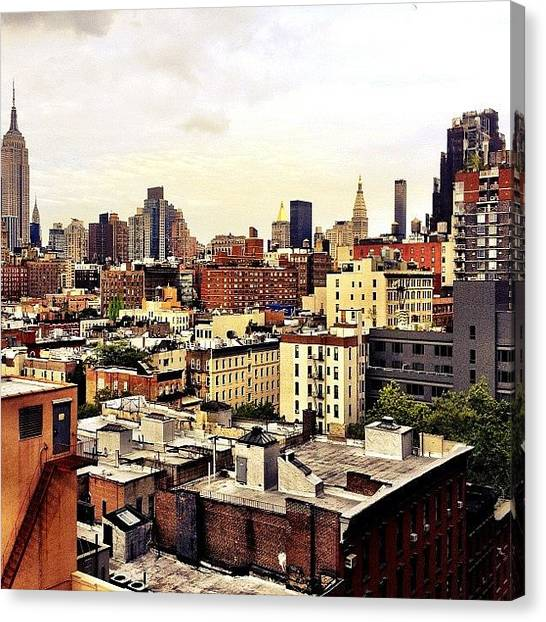 Times Square Canvas Print - Over The Rooftops Of New York City by Vivienne Gucwa
