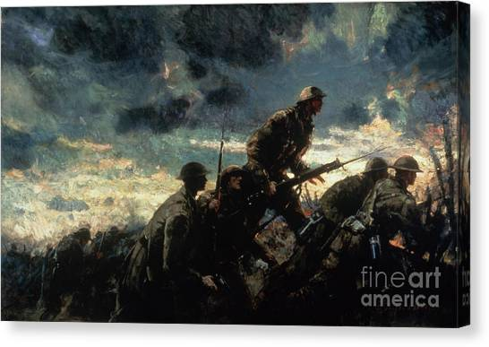 Wwi Canvas Print - Over The Top by Alfred Bastien
