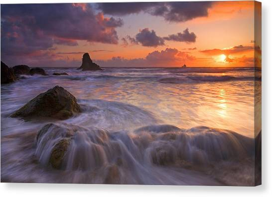 Beach Sunsets Canvas Print - Overcome by Mike  Dawson