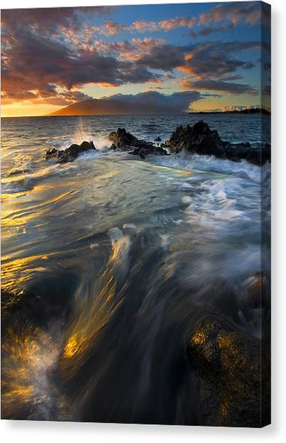 Ocean Sunsets Canvas Print - Overflow by Mike  Dawson