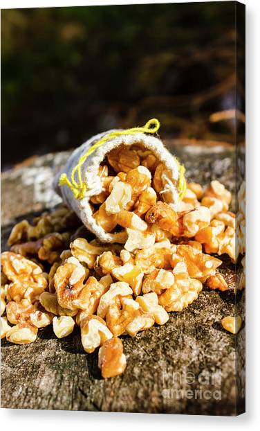Protein Canvas Print - Overflowing Sack Of Fresh Walnuts by Jorgo Photography - Wall Art Gallery