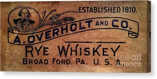 Whiskey Canvas Print - Overholt Rye Whiskey Sign by Jon Neidert