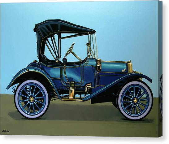 Automobiles Canvas Print - Overland 1911 Painting by Paul Meijering