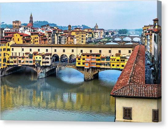 The Uffizi Gallery Canvas Print - Overlooking Ponte Vecchio Bridge by Carolyn Derstine
