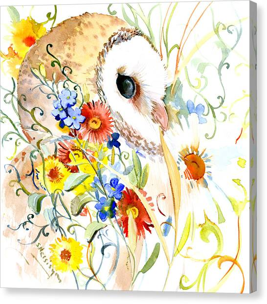 Owl And Flowers Canvas Print