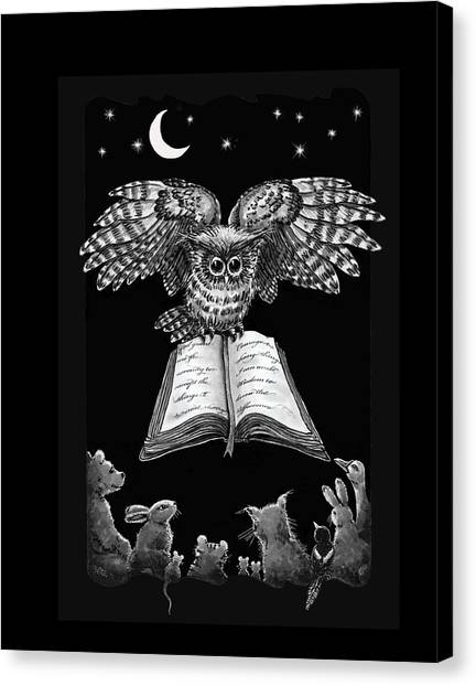 Owl And Friends Blackwhite Canvas Print