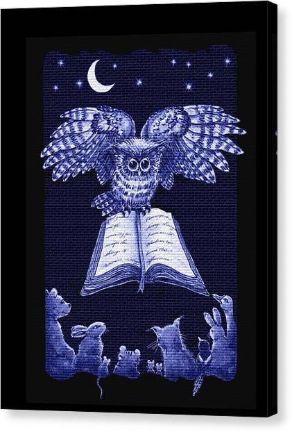 Owl And Friends Indigo Blue Canvas Print