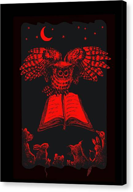Owl And Friends Redblack Canvas Print