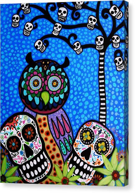 Owl And Sugar Day Of The Dead Canvas Print