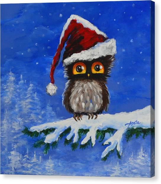 Owl Be Home For Christmas Canvas Print