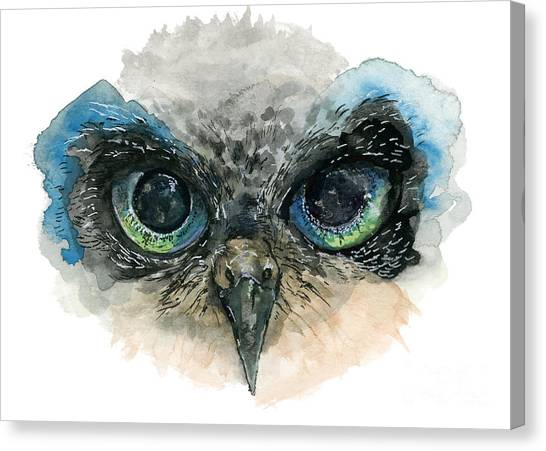 Canvas Print featuring the painting Owl Eyes by Lauren Heller