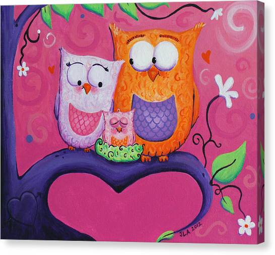 Owl Family Canvas Print by Jennifer Alvarez