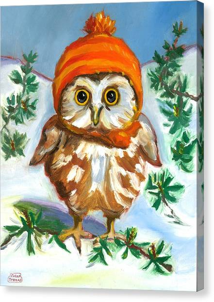 Owl In Orange Hat Canvas Print