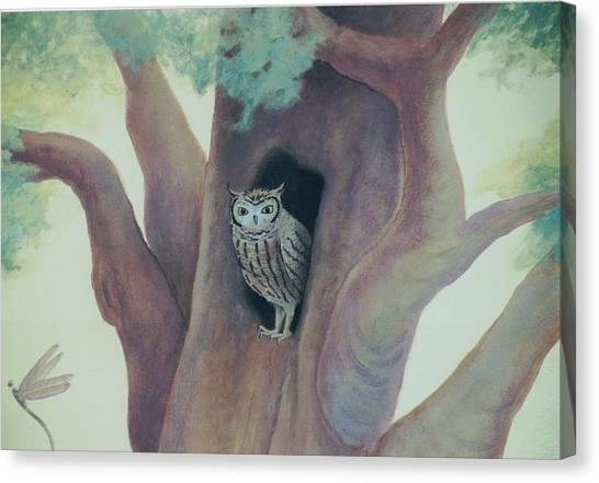 Owl In Tree Canvas Print