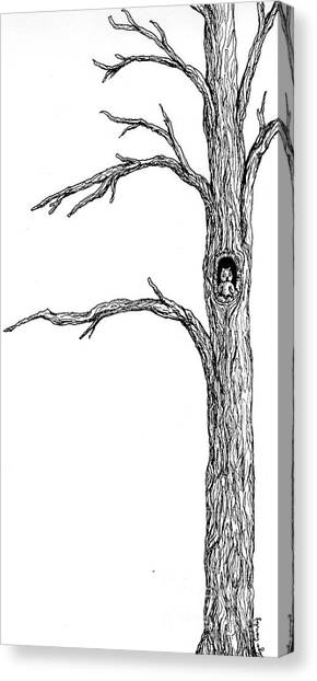 Owl Ink Tree Canvas Print