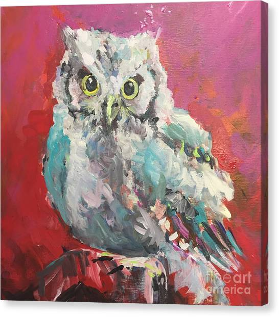 Chi Omega Canvas Print - Red Owl by Karen Ahuja