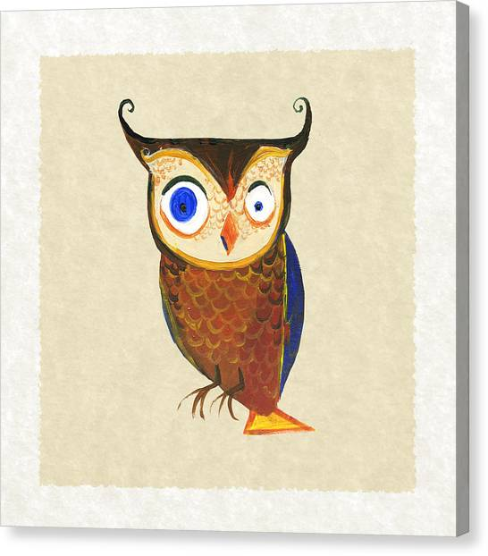 Owls Canvas Print - Owl by Kristina Vardazaryan