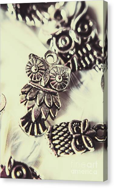 Necklace Canvas Print - Owl Pendants. Charms Of Wisdom by Jorgo Photography - Wall Art Gallery