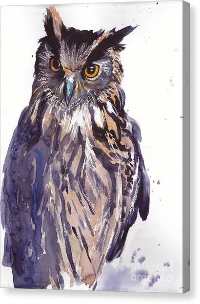 Hawks Canvas Print - Owl Watercolor by Suzann's Art