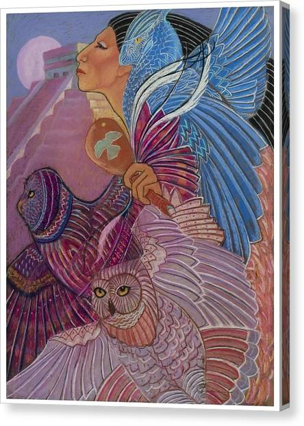 Owl Woman At Chichen Itza Canvas Print